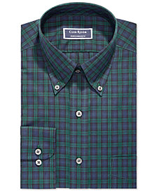Club Room Men's Classic/Regular Fit Stretch Blackwatch Tartan Dress Shirt, Created for Macy's