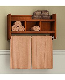 """25"""" Bath Storage Shelf With Towel Rod, Chestnut"""