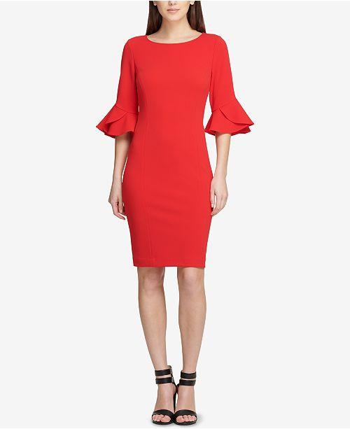 Flounce-Sleeve Sheath Dress, Created for Macy's