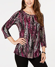 JM Collection Petite Printed 3/4-Sleeve T-Shirt, Created for Macy's