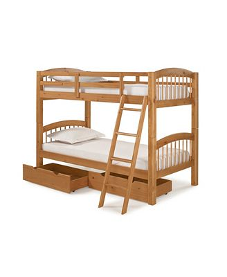 Bolton Furniture Spindle Twin Over Twin Bunk Bed With Storage