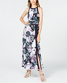 I.N.C. Printed Varsity-Stripe Maxi Dress, Created for Macy's