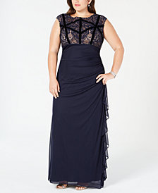 Betsy & Adam Plus Size Velvet-Trim Lace Gown