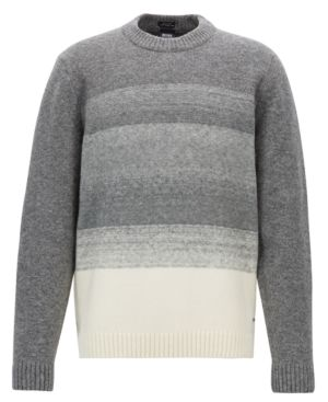 HUGO BOSS Ecardo Degrade Virgin Wool Blend Sweater in Light Grey Melange