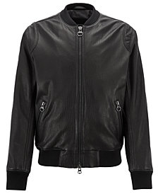 BOSS Men's Lambskin Leather Bomber Jacket