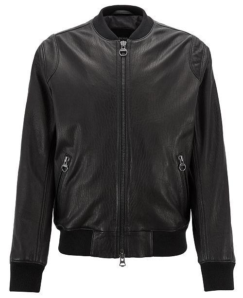 dba602b9e Hugo Boss BOSS Men s Lambskin Leather Bomber Jacket   Reviews ...