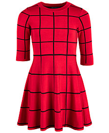 Sequin Hearts Big Girls Window Pane Check Dress