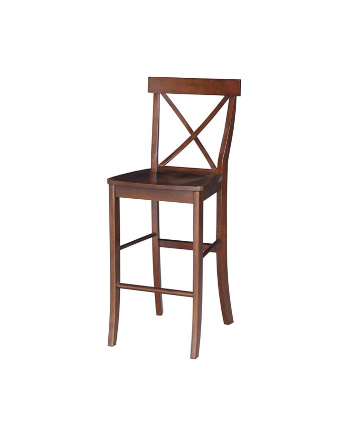 """International Concepts - X-Back Bar height Stool - 30"""" Seat Height"""