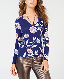 GUESS Pearlized Long-Sleeve Halter-Detail Top