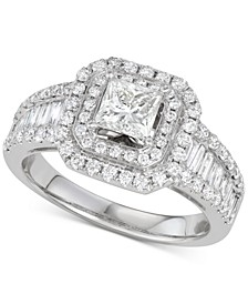 Diamond Princess Halo Engagement Ring (1-3/4 ct. t.w.) in 14k White Gold