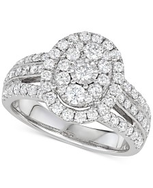 Diamond Oval Halo Cluster Engagement Ring (1-1/2 ct. t.w.) in 14k White Gold