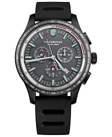 Victorinox Swiss Army Men's Swiss Chronograph Alliance Sport Black Rubber Strap Watch 44mm