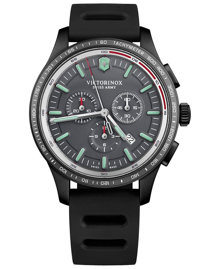 Victorinox Swiss Army - Men's Swiss Chronograph Alliance Sport Black Rubber Strap Watch 44mm
