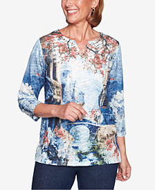 Alfred Dunner News Flash Printed Top