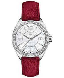 TAG Heuer Women's Swiss Formula 1 Diamond (1/4 ct. t.w.) Red Berry Leather Strap Watch 35mm