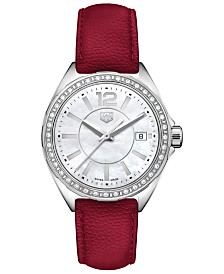 TAG Heuer Women's Swiss Formula 1 Diamond (1/4 ct. t.w.) Red Berry Leather Strap Watch 35mm