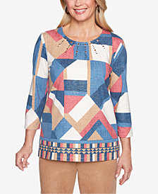 Alfred Dunner News Flash Patchwork-Print Top