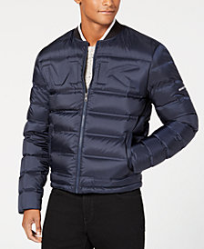 Michael Kors Men's Quilted Embossed Logo Bomber Jacket