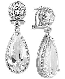 Tiara Cubic Zirconia Teardrop Halo Drop Earrings in Sterling Silver