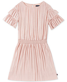 Tommy Hilfiger Big Girls Pleated Metallic Dress