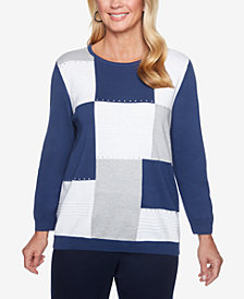 Alfred Dunner Colorblocked Studded Sweater