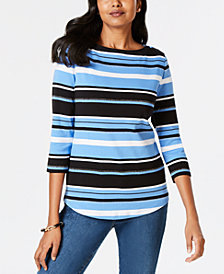 Charter Club Petite Striped Cotton Button-Shoulder Top, Created for Macy's