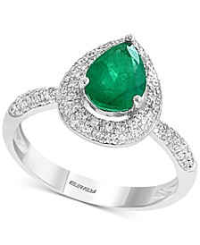 Gemstone Bridal by EFFY® Emerald (9/10 ct. t.w.) & Diamond (3/8 ct. t.w.) Pear Shaped Ring in 18k White Gold