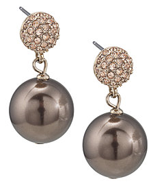 Carolee Earrings, Large Glass Pearl Double Drop Earrings