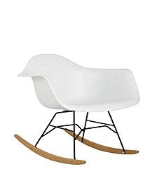 Arm Rocking Bucket Seat Rocking Chair in White
