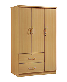 3-Door Armoire with 2-Drawers, 3-Shelves in Beech
