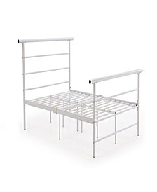 Complete Metal Twin-Size Bed with Headboard, Footboard, Slats and Rails in White