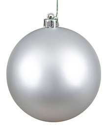 "Vickerman 4"" Silver Matte Ball Christmas Ornament, 6 per Bag"