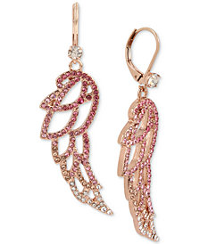 Betsey Johnson Rose Gold-Tone Pavé Angel Wing Drop Earrings