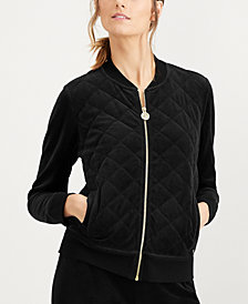 Calvin Klein Quilted Velour Bomber Jacket