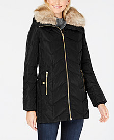 MICHAEL Michael Kors Petite Faux-Fur-Collar Down Coat