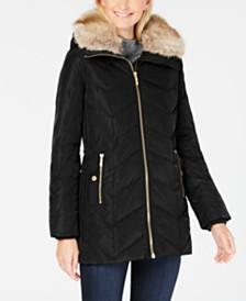 MICHAEL Michael Kors Petite Faux-Fur-Collar Down Coat