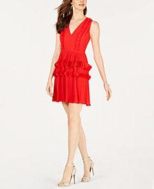 foxiedox Pleated Appliqué Dress