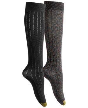 GOLD TOE Women'S 2Pk Sparkle Cable Knee-High Socks in Black