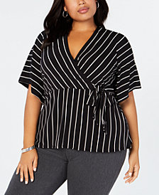 Alfani Plus Size Striped Tie Top, Created for Macy's