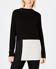Eileen Fisher Tencel® Colorblocked Mock-Neck Sweater, Created for Macy's