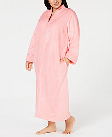 Charter Club Plus Size Long Textured Zip Robe, Created for Macy's