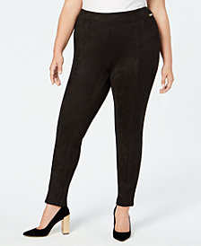 Calvin Klein Plus Size Faux-Suede Skinny Pants