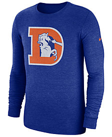Nike Men's Denver Broncos Historic Crackle Long Sleeve Tri-Blend T-Shirt