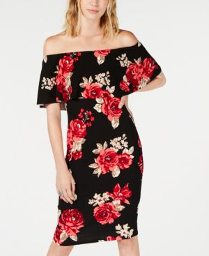 ALMOST FAMOUS Juniors' Printed Ruffle Off-The-Shoulder Dress in Black/Red Floral