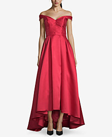 Xscape Petite Off-The-Shoulder High-Low Gown