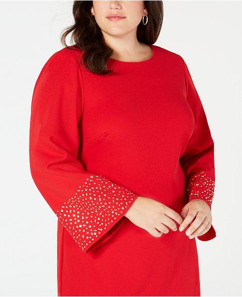 b4f48b8e2aaff Jessica Howard Plus Size Studded Flare-Sleeve Shift Dress & Reviews ...