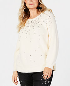 I.N.C. Plus Size Rhinestone-Embellished Sweater, Created for Macy's