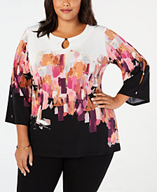 JM Collection Plus Size Embellished Tunic Top, Created for Macy's