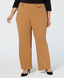 I.N.C. Plus & Petite Plus Size Grommet-Detail Wide-Leg Pants