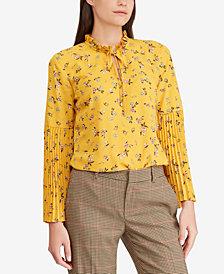 Lauren Ralph Lauren Floral-Print Bell-Sleeve Top